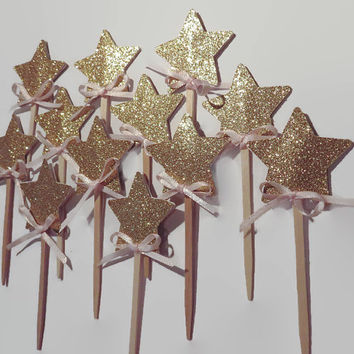 Twinkle Twinkle Little Star Cupcake Toppers, gold stars, pink and gold party decorations, princess party, 12 CT