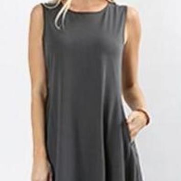 The Perfect Pocket Dress in Ash Grey
