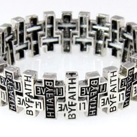 4030029 Christian Scripture Religious Bracelet Live by Faith Weaving Cross