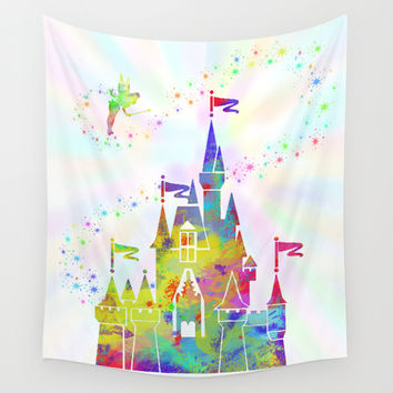 Castle of Magic Kingdom  Wall Tapestry by Miss L In Art