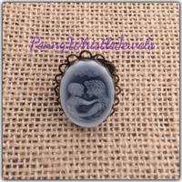 Mother Ring, Cameo Ring, Mother/Child Ring, Mom Ring, Adjustable Ring, Bronze Ring
