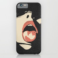 Good girl waits for her dose, submission pop art, sexy lips, erotic, seducing, sensual sketch iPhone & iPod Case by Peter Reiss