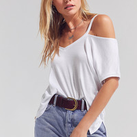 Silence + Noise Split-Cut Cold Shoulder T-shirt   Urban Outfitters