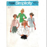 Simplicity 7896 Pattern for Misses' Tie Blouse in 3 Versions, Size 10, From 1977, Vintage Pattern, Home Sewing Pattern, 1977 Fashion Sewing