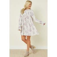 Beautiful Lady Ivory And Purple Print Dress