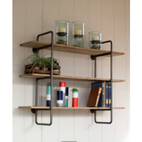 THREE TIERED METAL TUBE FRAME WALL SHELF WITH WOODEN SHELVES-SMALL