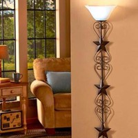 Wall Lamp Country Barn Star Large Oversized Rustic Primitive Remote Control NEW