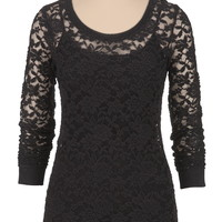 Long Sleeve Lace Pullover