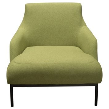 Melrose Chair in Avocado Fabric with Black Powder Coat Metal Legs