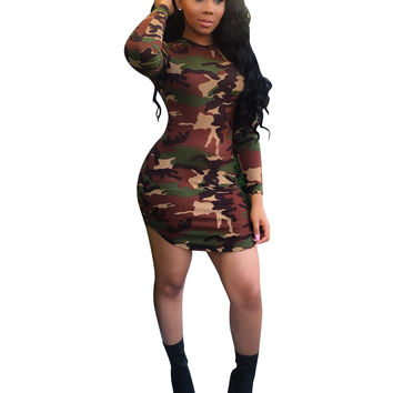 Round Neck Long Sleeve Camouflage Bodycon Dress