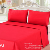 Tache 3 Piece Vibrant Red Bed sheet Set (Queen)(Flat Sheet)