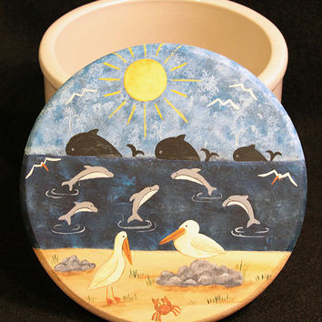 Beach Folk Art Primitive Nautical Theme Lid on Vintage Roseville Ohio Crockware Pottery Whales, Dolphins, Pelicans, Crab, Ocean, Sandy Beach