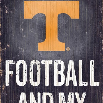 """Tennessee Volunteers Wood Sign - Football and Dog 6""""x12"""""""