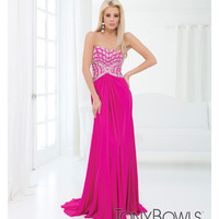 (PRE-ORDER) Tony Bowls 2014 Prom Dresses - Magenta Georgette Strapless Prom Gown