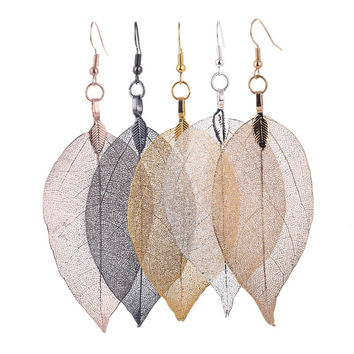LOVBEAFAS 2017 Fashion Bohemian Long Earrings Unique Natural Real Leaf Big Earrings For Women Fine Jewelry Gift