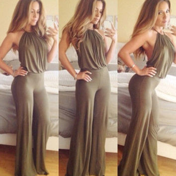2015 Women Dress OL Style Backless Sleeveless Loose Jumpsuit Rompers Women Overalls Macacao Feminino Trendy Catsuit