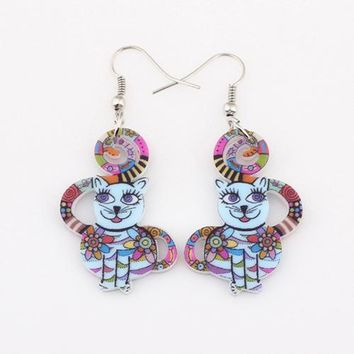 Drop cute cat collar earrings acrylic pattern new autumn winter girls woman jewelry accessories fashion earrings