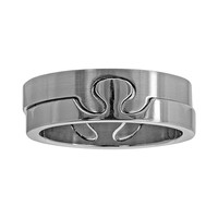 Stainless Steel Puzzle Ring Set - Men (Grey)