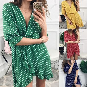 Fashion Casual Chiffon Ruffle Dresses Print Women Summer 1/2 Sleeve Evening Party Beach Dress Short Printed Dress Womens Clothing Apparel