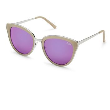 quay - every little thing cat eye sunnies - silver/pink