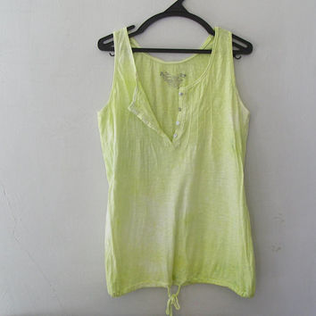 Pistachio Green Tank Top, Hand Dyed Cotton Woman Summer Top, Altered Clothing, Size L Light Long Everyday loose fit Tunic Tank, Upcycled