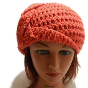 Crochet  Braided Cloche Beanie Hat in Coral