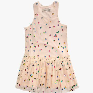 Stella McCartney Kids Bell Girls Tulle Dress with Metallic Polka Dots in Cream - 363746