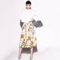 midi skirt/full midi skirt/pleated midi skirt/pleated skirt/floral midi skirt/midi skirt floral/high waisted midi skirt/fashion skirt