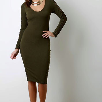 Perforated Panel Scoop Neck Long Sleeve Dress