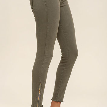 Audrey Olive Green Ankle Skinny Jeans