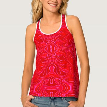 Red Abstract Patterns Tank Top