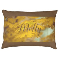 Yellow autumn maple leaves. Add you text and photo Pet Bed