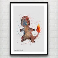 Charmander Pokemon Watercolor Poster, Kids Watercolor Art Print, Boy's Room Wall Art, Kids Decor, Not Framed, Buy 2 Get 1 Free! [No. 10-2]