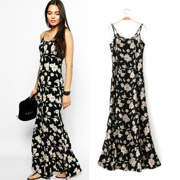 Summer Women's Fashion Floral Print Cotton Spaghetti Strap Slim Prom Dress One Piece Dress [4918979524]