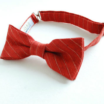 Red Stripy Linen Bow Tie- pre-tied adjustable Men's Bow tie- Dad's Son's bow ties- Family Photo Outfit- Red Gold stripes