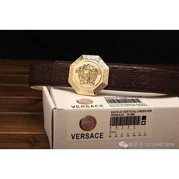 Versace Buckle Belt Leather Bel  Fashion Smooth