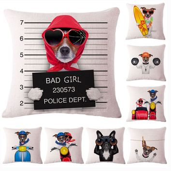 Fashion Cute Dog Cotton Linen Decorative Pillow Case Chair Waist Seat Square 45x45cm Pillow Cover Home Garden Textile