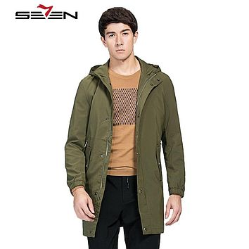 Military Black Men Long Trench Coats Winter Men Trench coat Overcoat Male Windbreaker Slim Hooded Cloaks Jacket