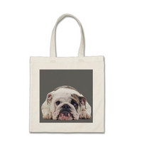 Customized bulldog tote, 100% cotton with an English bulldog puppy