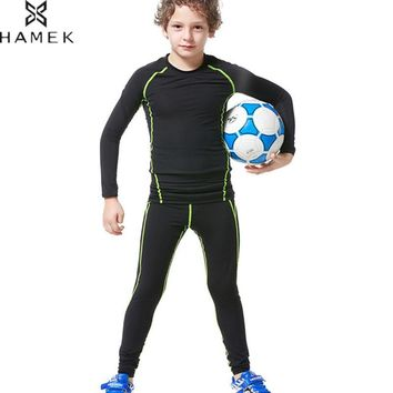 Kids Running Sets Compression Workout Tights Boys Soccer Basketball Training Suit Sports Leggings Gym Fitness Jogging Clothing
