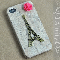 Eiffel Tower Iphone 4 Case, iPhone 4S Case, iphone 4 cover, White Wooden Case For iphone 4 & iphone 4S, Apple iPhone 4 Case