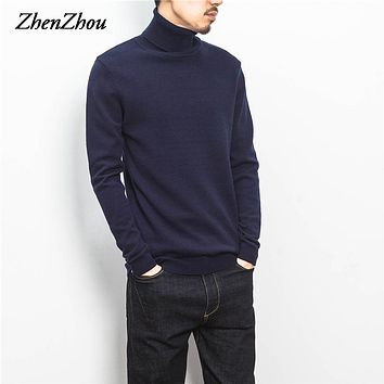 ZhenZhou Solid Slim Fit Pullover Men Gray White Sweater Men Brand 2017 M-5XL Male Turtleneck Men Sweater Pull Homme Marque