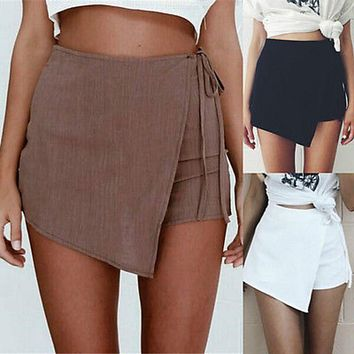 Sexy Women Hot  Fashion Irregular   Summer Casual Shorts Beach High Waist Shorts