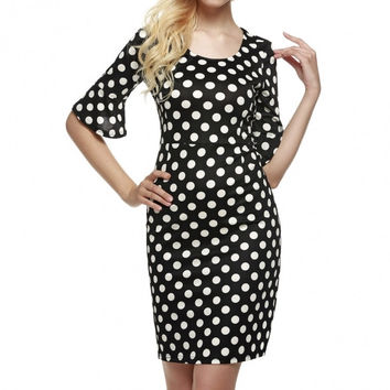 Women 1950s Vintage Style Half Flare Sleeve Polka Dot Wedding Party Bodycon Cocktail Dress
