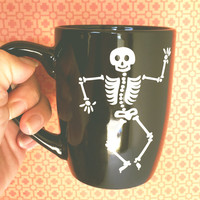Dancing Skeleton Black Mug // Multi-purpose Container - Coffee Mug - Makeup Holder - Decor - Drinking Mug - Halloween - Tea Mug - Beverage