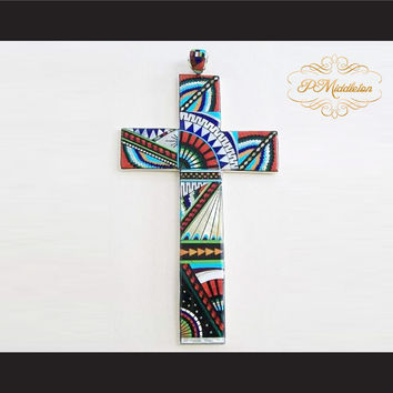 P Middleton Cross Pendant Sterling Silver .925 with Semi-Precious Stones Micro Inlay