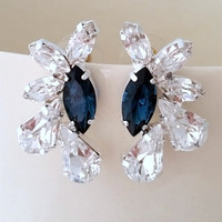 Navy blue and clear crystal Statement stud earrings, large cluster earrings, Swarovski crystal earrings, Bridal earrings, Bridemsmaids gift
