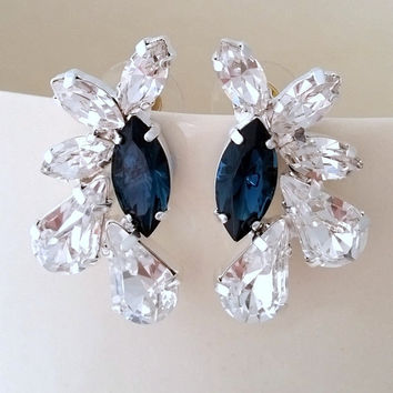 Navy Blue And Clear Crystal Statement Stud Earrings Large Cl