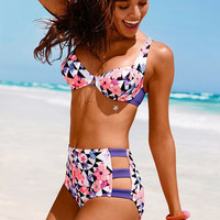 Purple Floral Print Cutout High Waist Bikini Set