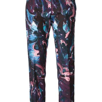 MSGM marbled paint print trousers